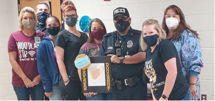 The School Resource Officer Golden Doughnut safety award was recently presented to the entire Brownwood ISD Nursing Department for their continued diligence and dedication in taking care of students and keeping everyone safe. The Golden Doughnut Safety Award is a roving award that is presented to BISD employees who have shown a commitment to school safety and security within the district.