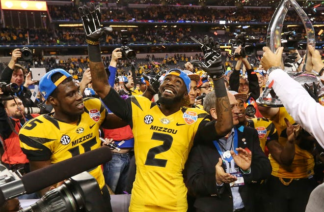 Missouri wide receiver L'Damian Washington (2) celebrates a 41-31 victory against Oklahoma State in the Cotton Bowl on Jan. 3, 2014, at AT&T Stadium in Arlington, Texas.