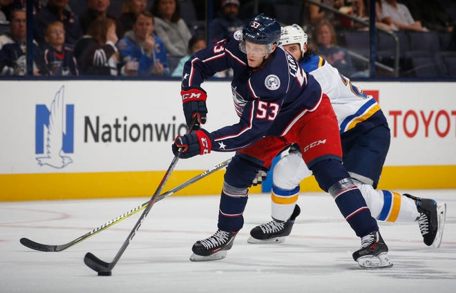 Gabriel Carlsson, a first-round draft pick in 2015 who signed a two-year contract Friday, will compete for ice time on the Blue Jackets' third defensive pairing.