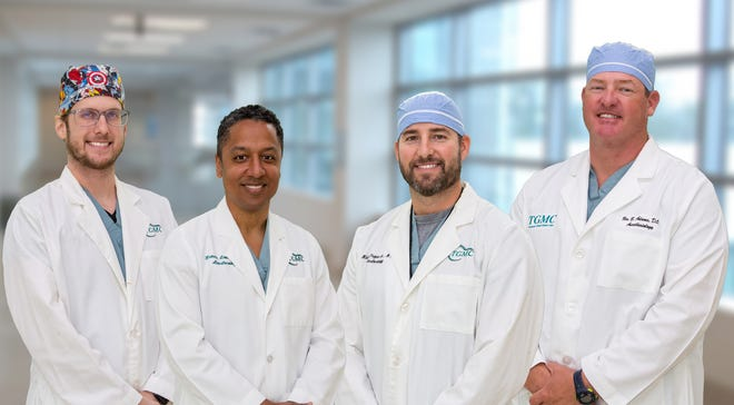 Terrebonne General Medical Center's Anesthesia Team. From left: Jared Roussel, Francis Lewis, II, Michael Prejean, Jr. and Ben Adams, who developed the first Enhanced Recovery After Surgery (ERAS) program in the region designed to improve patient's recovery from surgery.