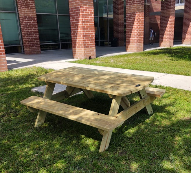 LHS construction academy students built five picnic tables for the Mount Dora High courtyard, to help students stay socially distanced during lunch amid the pandemic.