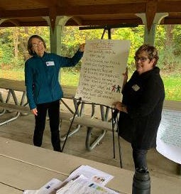 Dr. Louise Fleming and Brenda Linnick talk politics during the Wayne County League of Women Voters' Pop Up forum held recently outdoors in Wooster.