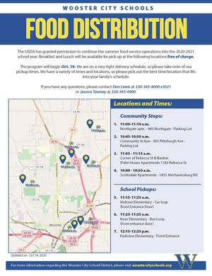 Wooster City Schools shared this meal distribution schedule with families.