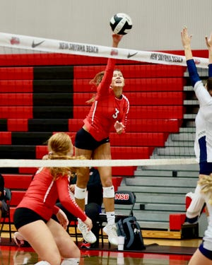 Senior Kate McLaughlin had seven kills and five aces to help New Smyrna Beach defeat Groveland South Lake in Thursday's District 6-6A volleyball final.