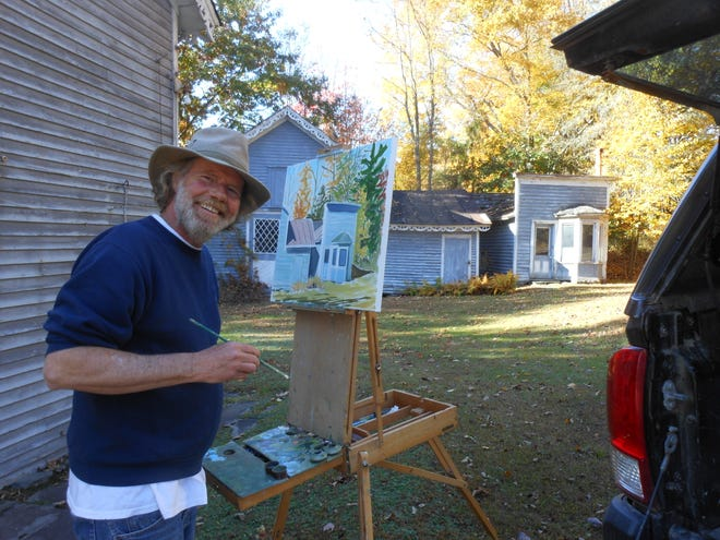 Artist Gregory J. Pelly of Thompson, Pa. captures autumn's glory and  examples of Dorflinger history in White Mills, October 14.