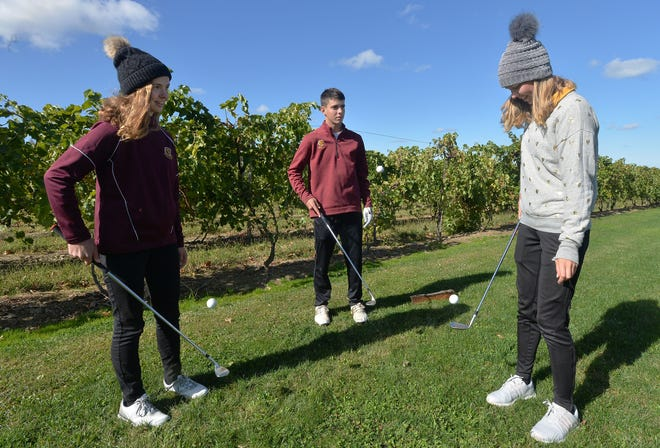 Siblings, from left, Anna Swan, 14, Isaiah Swan, 17, and Lydia Swan, 16, practice juggling golf balls on their clubs at home in North East Township. The trio attend school at home and compete for the North East High School golf team as a freshman, senior and junior, respectively.