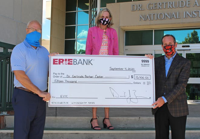 ErieBank makes donation ErieBank recently presented a $15,000 donation to the Barber National Institute made through the Educational Improvement Tax Credit Program (EITC). Dr. Maureen Barber Carey, executive vice president of the Barber National Institute, accepted the contribution from Scott Calhoun, left, vice president/commercial lending, and Dave Zimmer, ErieBank president. The donation will help fund scholarships for qualifying students to receive a preschool education.