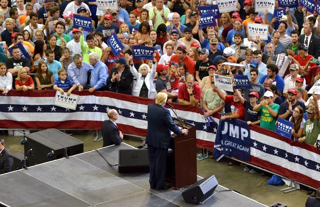 Donald Trump speaks to a crowd at VyStar Veterans Memorial Arena when he ran for president in 2016. Trump would have been back in downtown Jacksonville for the Republican National Convention in August but coronavirus concerns forced cancellation of the event.