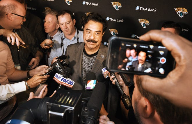 Jaguars owner Shad Khan, seen here answering media questions after a State of the Franchise event in April, 2018, is close to being among the fastest NFL owners to reach 100 losses. With the team off to a rocky start at 1-4, Khan will be facing more scrutiny and skepticism if the Jaguars don't start winning soon.