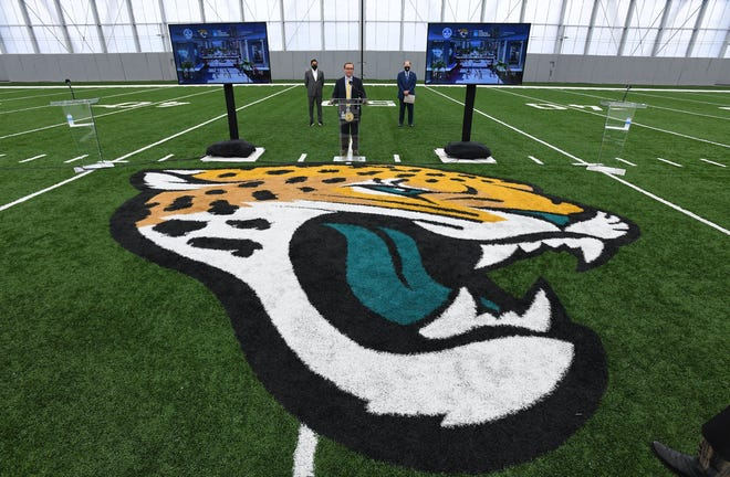 Jacksonville Mayor Lenny Curry along with Jacksonville Jaguars owner Shad Khan and President of the Jacksonville Jaguars, Mark Lamping were all on hand to unveil the plans for the proposed Lot J entertainment and residential development during a presentation inside the Jaguars Flex Field Monday, October 5, 2020. [Bob Self/Florida Times-Union}