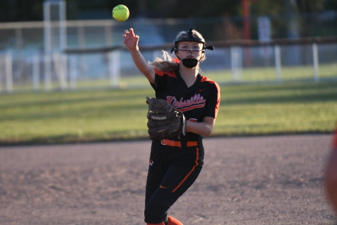 Kirksville second baseman Kenslie Stufflebean fields and throws for an out Thursday in a district semifinal game against Savannah.
