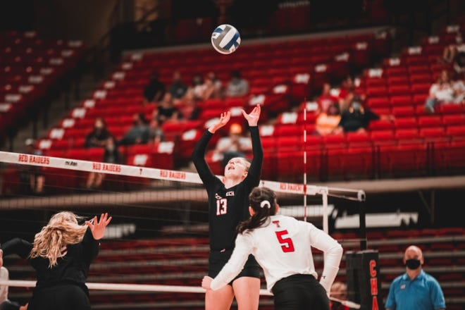 Texas Tech's Alex Kirby has been busy with all of the new outside hitters to find all around the court. The junior setter has amassed 256 assists this season.