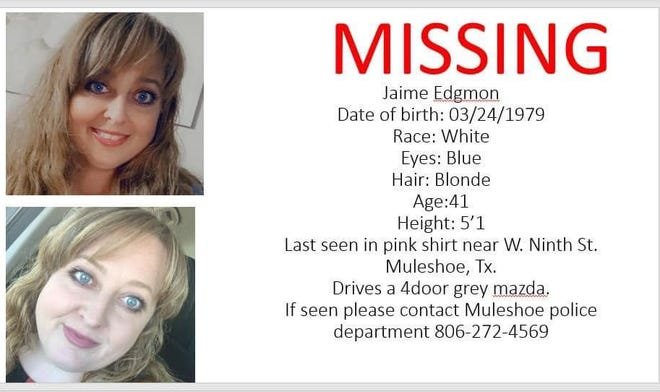 Jaime Edgmon was reported missing Wednesday in Muleshoe. Her body was found Friday in New Mexico.