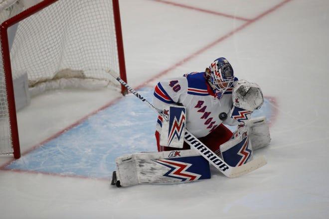 New York Rangers goaltender Alexandar Georgiev went 17-14-2 with a 3.04 goals-against average and .910 save percentage in 34 games last season.