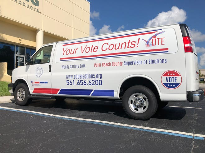 "Voters can drop off vote-by-mail ballots at two dozen ""Your Vote Counts!"" vans spread across the county. [Hannah Morse / PalmBeachPost.com]"