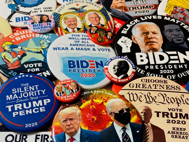 Many of the items to be displayed at the Political and Pop Culture Show, set Friday and Saturday at MAPS Air Museum, will relate to the current presidential campaign between President Donald Trump and former Vice President Joe Biden. The show is sponsored by the American Political Items Collectors.
