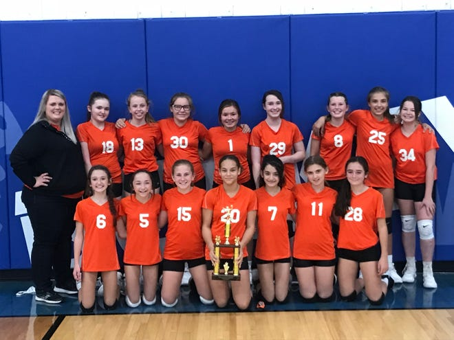 The Claymont 7th grade volleyball team won the Inter-Valley Conference South Tournament. The Mustangs beat Hiland in the quarterfinals, Ridgewood in the semifinals and Buckeye Trail 25-14, 27-25 in the championship game.
