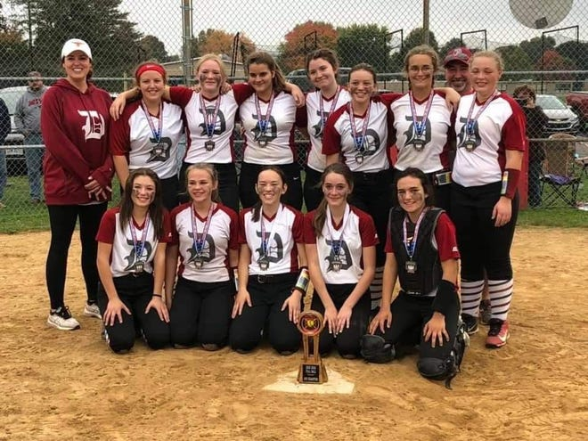 The Dover Tornadoes won the 14U championship in the Dover Girls Softball Association Fall Ball Tournament Oct. 11, defeating the Lady Rebels Navy by a score of 6-3. The team members are FRONT (left to right) Jayli Lanzer, Keilynn Moore, Kamryn Hart, Kayttie Slemmer and Madi Bantum. BACK Asst. Coach Marie Contini, Avery Contini, Kiley McKean, Miley Hostetler, Susie Peltz, Hope Anderson, Kaylee Watson, Head Coach Jeremy Bleininger and Emma Rennicker. Not present were Mia Sexton and Asst. Coach Trinity Thompson.
