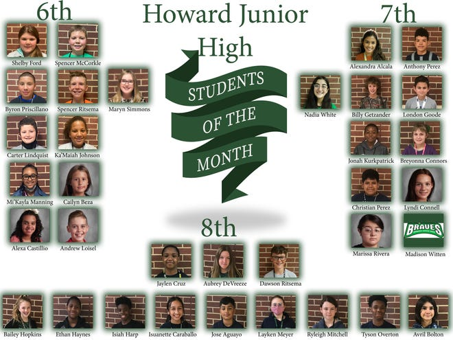 The students of the month forHoward Junior High..