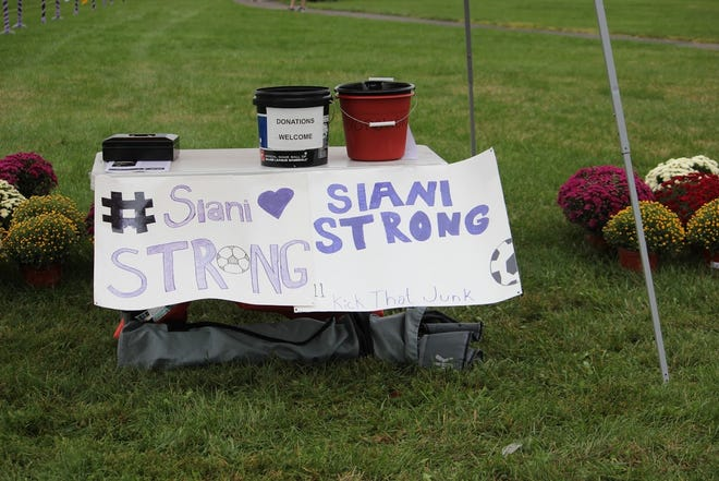 Donation buckets were set up at last week's girls' soccer game between Burlington Township and Mooresotwn for the Siani Strong Foundation. Burlington Township hosts a dedication game in honor of Siani McCurry, who passed away in 2014 after a long battle with leukemia.