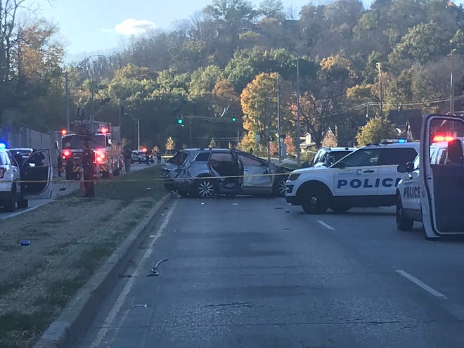 A crash on Queen City Avenue closed the road Friday afternoon.