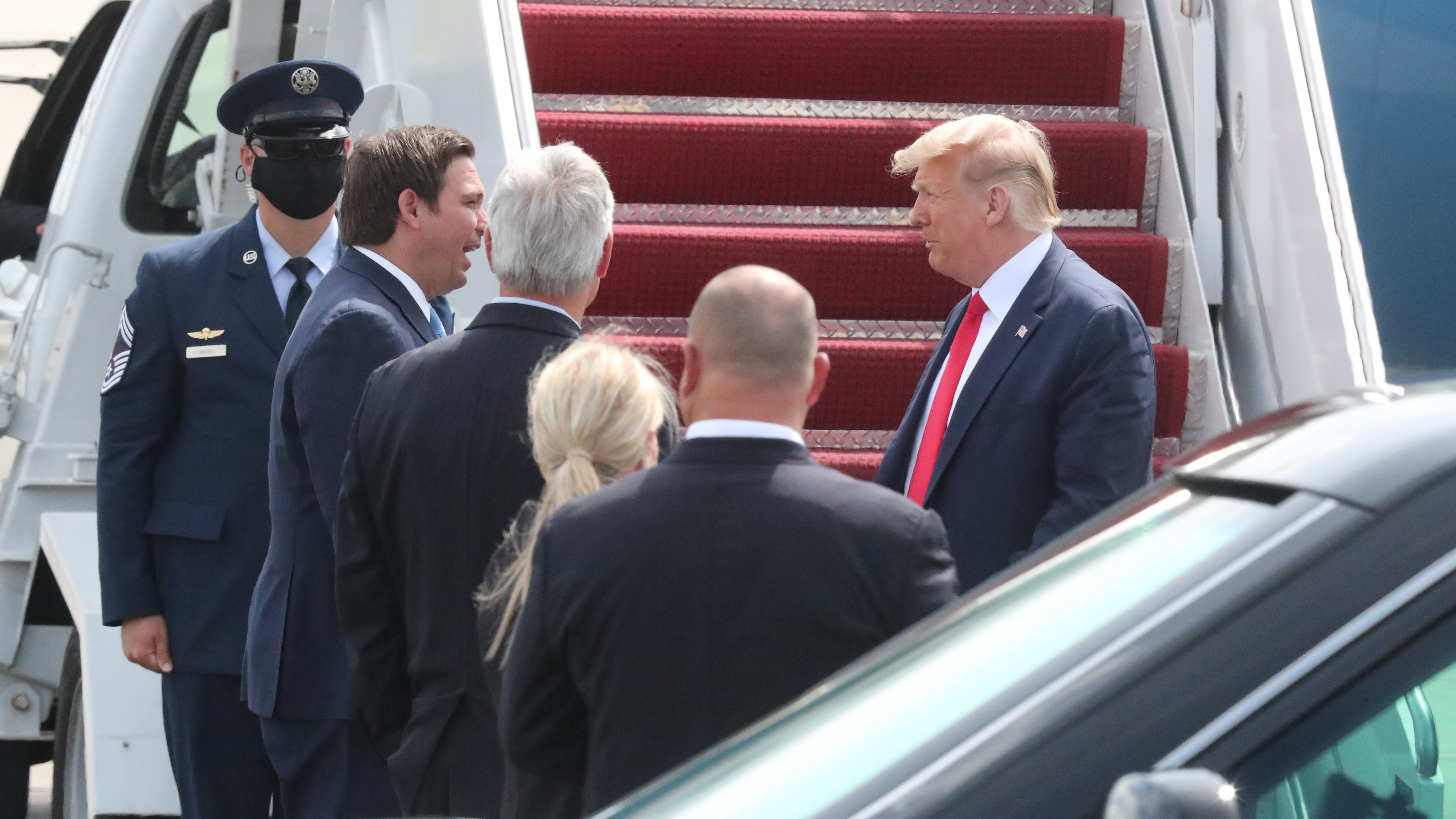 President Donald Trump arrives in Fort Myers aboard Air Force One.