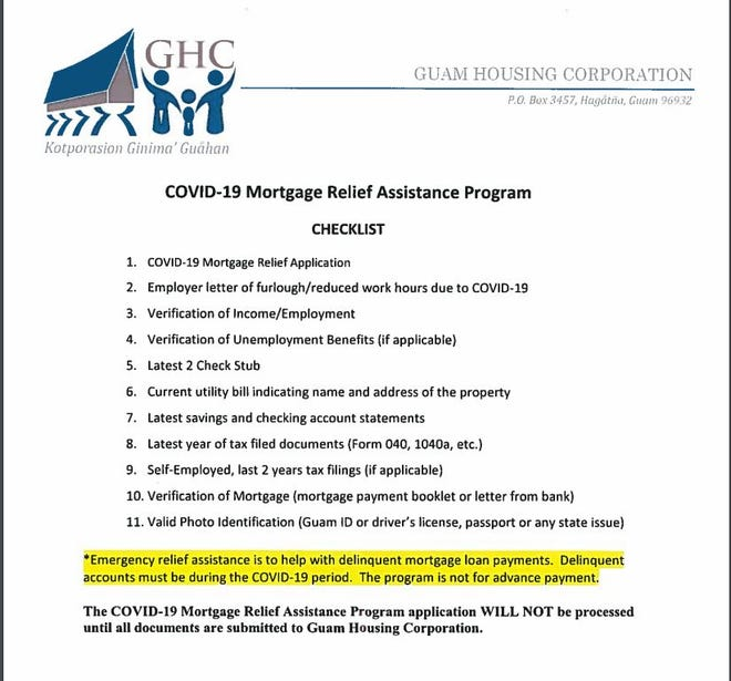 A screen capture of the Guam Housing Corp. COVID-19 Mortgage Relief Assistance Program application