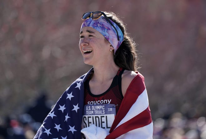 Molly Seidel celebrated on Feb. 29, 2020 in Atlanta, Georgia, after placing second in the women's race in 2:27:31 during the US Olympic Team Trials marathon.
