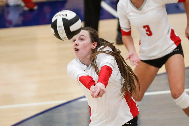Fishers Mia Fehlinger (9) sets the ball during the class 4A sectional semifinals at Hamilton Southeastern High School in Fishers, Ind., Thursday, October 15, 2020. Fishers defeated Noblesville, 3-1 sets.