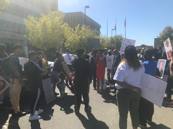 Erika Stotts Pearson, Democratic nominee for U.S. House from Tennessee's 8th Congressional District, was in Jackson on Tuesday and briefly spoke to protesters at the Lowell Thomas State Office Building.