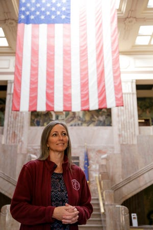 Paula Copenhaver, Fountain County Clerk, stands in the atrium of the Fountain County Courthouse, Friday, Oct. 16, 2020 in Covington.