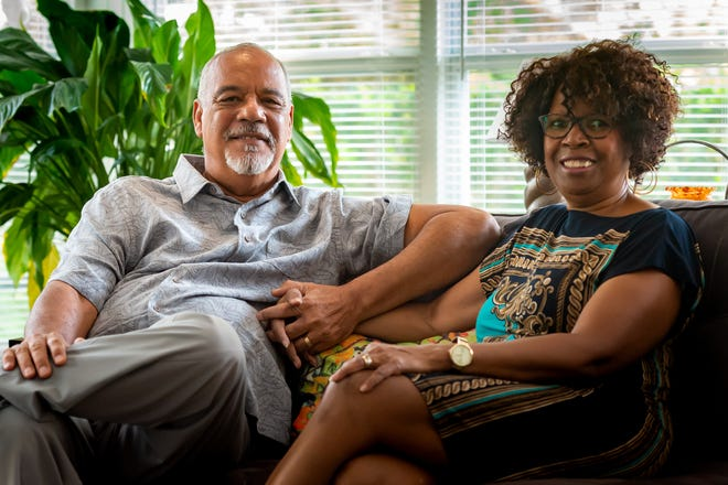 Fred Prejean, left, and his wife Ola Prejean pose for a photo in their north Lafayette home. Fred Prejean is the 2020 recipient of the Lafayette Civic Cup Award, which recognizes citizens for their efforts to improve the community.
