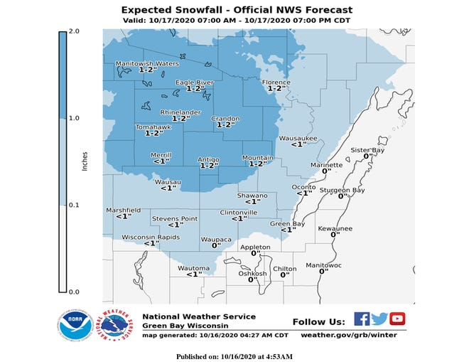 The first accumulating snow of the season could fall across northern Wisconsin on Saturday.