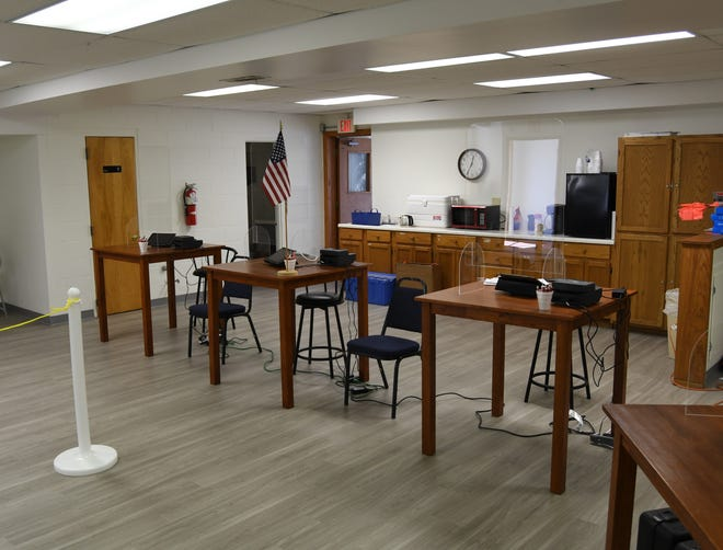 The check-in area of the early voting center at the Baxter County Election Commission office is seen Friday afternoon. The office is located at at 213 E. 5th Street in Mountain Home and is one of three early voting sites in Baxter County.