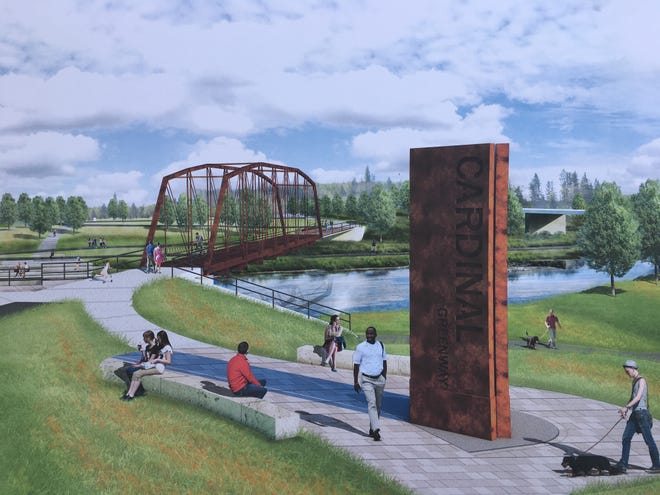The Kitselman Trailhead and Park's west side will include a weathering steel sign.