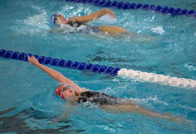 Shelby Smith, of West Florida High School, competes in the girls 200 yard IM during the swim meet at Booker T. Washington High School Aquatic Center in Pensacola on Thursday, Oct. 15, 2020.