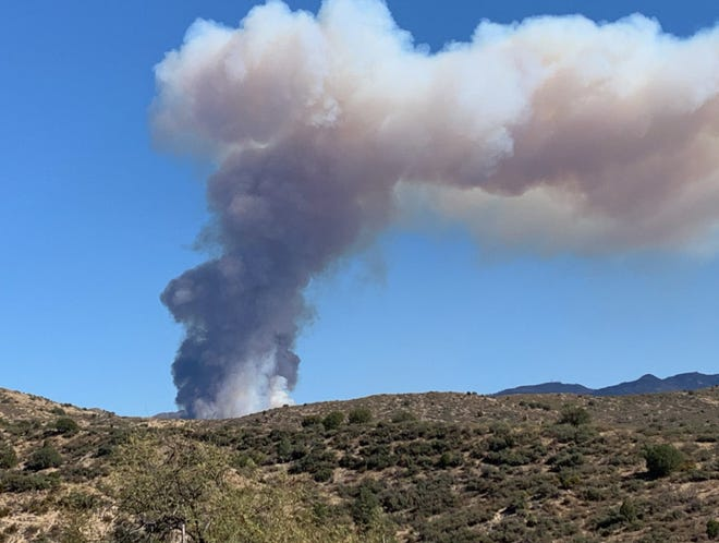 The Horse Fire burns near Crown King on Oct. 15, 2020.