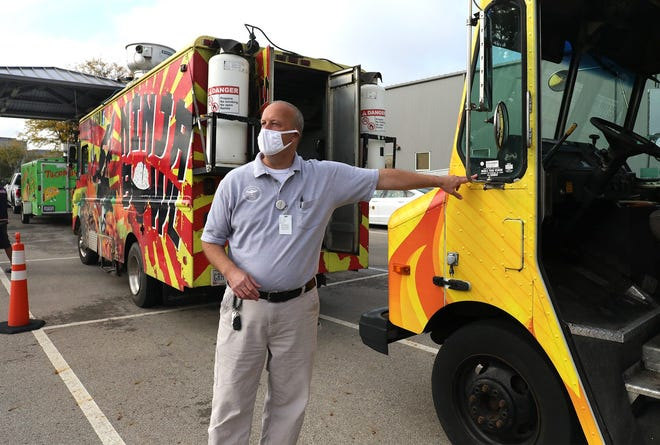 Port Clinton officials have been looking into how other Ohio communities regulate food trucks. Here, license officer Ralph Jones performs inspections on several parked for the city of Columbus in late September.