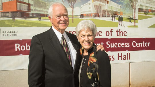 Robert and Marlese Gourley at the 2015 groundbreaking for the Glass Hall expansion.