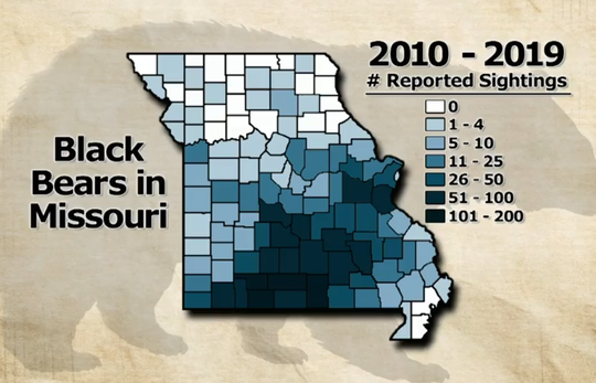 This map shows the number of black bear sightings over the last decade.