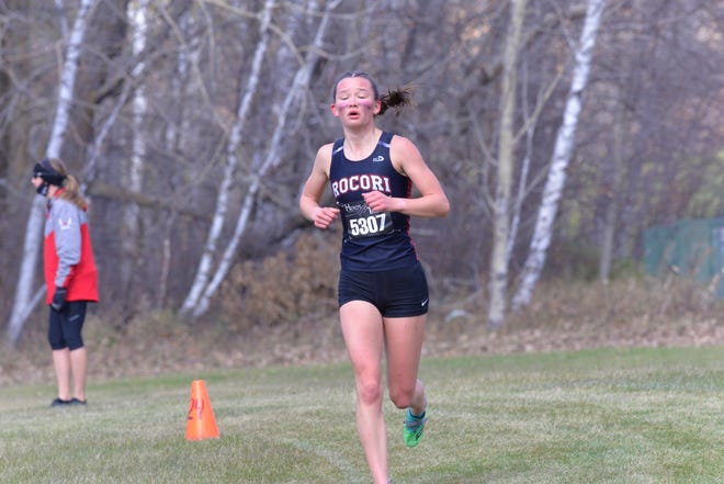 ROCORI's Ava Larsen sets her own pace during the Section 8AA girls cross country meet. This meet took place at Greenwood Golf Course in Bemidji on Friday, October 16, 2020.
