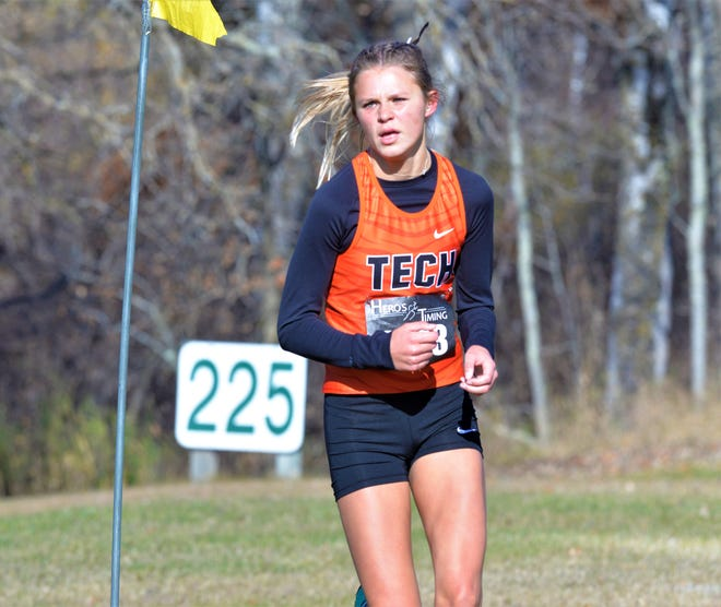 Tech's Stella Rusch led the Tigers in the first heat of the Section 8AA girls cross country meet with her time of 20:23.6. The meet took place at Greenwood Golf Course in Bemidji on Friday, October 16, 2020.