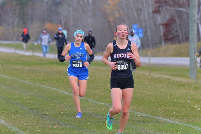 Sartell's Mady Dockendorf (back) is looking to catch up to ROCORI's Ava Larsen at the end of Section 8AA girls cross country meet. This meet took place at Greenwood Golf Course in Bemidji on Friday, October 16, 2020.