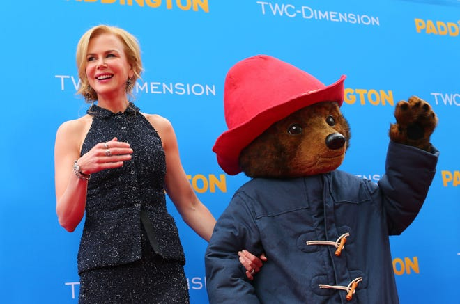 "Nicole Kidman, left, and Paddington Bear at the 2015 premiere of ""Paddington"" in Hollywood, Calif."