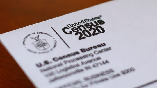 This April 5, 2020, file photo shows an envelope containing a 2020 census letter mailed to a resident in Detroit.
