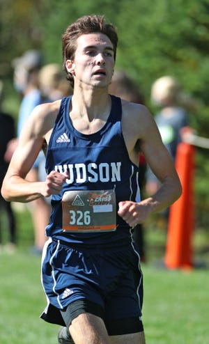 Jack Root of Hudson comes in second during the Suburban League National Conference race at Silver Creek Metro Park Cross Country Course on Saturday, Oct. 17, 2020 in Norton. [Mike Cardew/Beacon Journal]