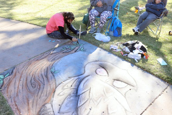 Savannah Young, a 10th grader at Caprock High School, creates an owl for the Art in the Park Chalk competition hosted by the Texas Panhandle Art Education Association Saturday at Medi Park. [Neil Starkey / For the Amarillo Globe-News]