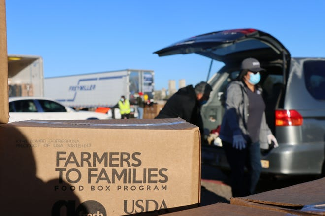 More than 11,000 boxes of food were expected to be distributed at Saturday morning's Farmers to Families food box distribution.  [Neil Starkey / For the Amarillo Globe-News]