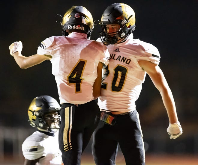 Bushland wide receivers Kash Bradley (4) and Brody Sutterfield (20) celebrate after a big play against River Road on Friday night. Both of them caught touchdown passes as the Falcons rolled to a 41-7 victory to stay unbeaten in District 2-3A Division I play.