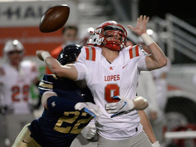 Hopewell's Connor Wayne (22) sacks Avonworth's Nathan Harper during Friday night's game at Hopewell.